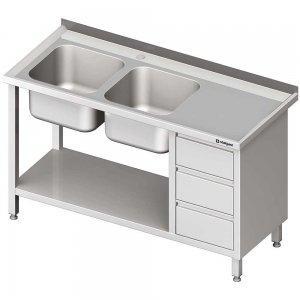 stół ze zlewem 2-komorowy szufladami i półką