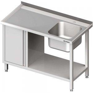 stół ze zlewem, szafką i półką